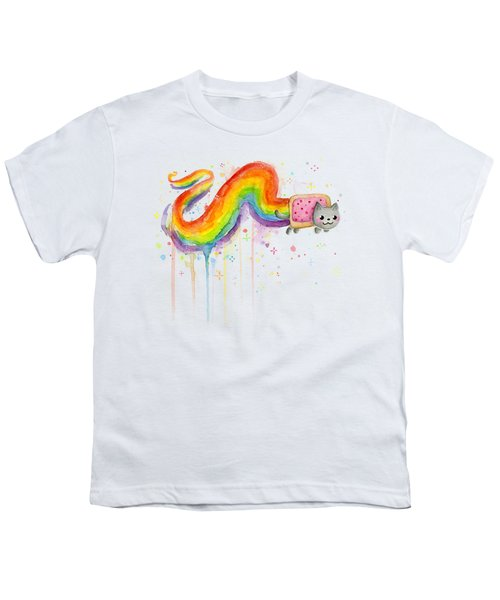 Nyan Cat Watercolor Youth T-Shirt by Olga Shvartsur