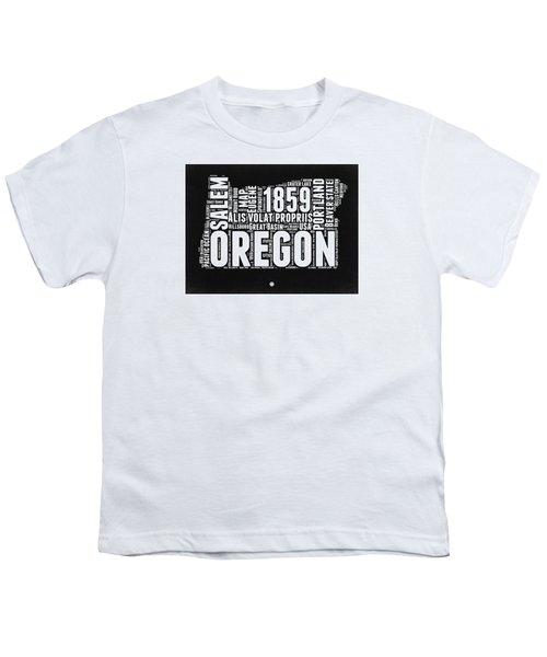 Oregon Black And White Map Youth T-Shirt