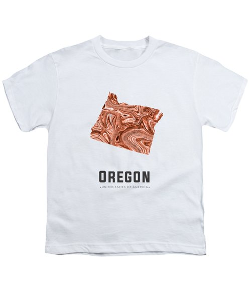 Oregon Map Art Abstract In Brown Youth T-Shirt
