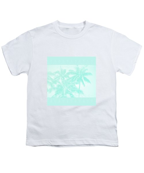 Palm Trees Hawaii Tropical Cyan Youth T-Shirt