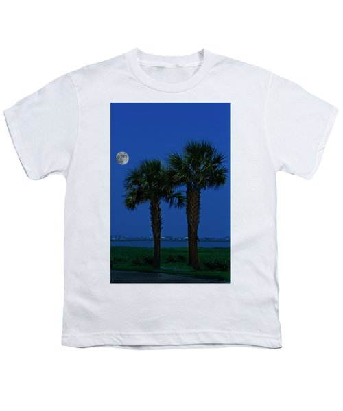 Palms And Moon At Morse Park Youth T-Shirt by Bill Barber