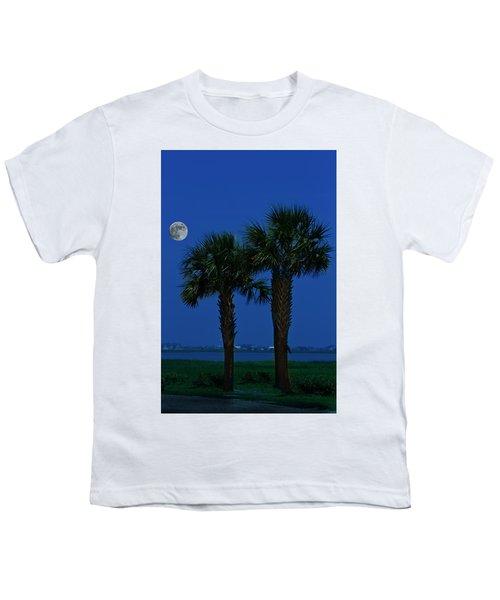 Palms And Moon At Morse Park Youth T-Shirt
