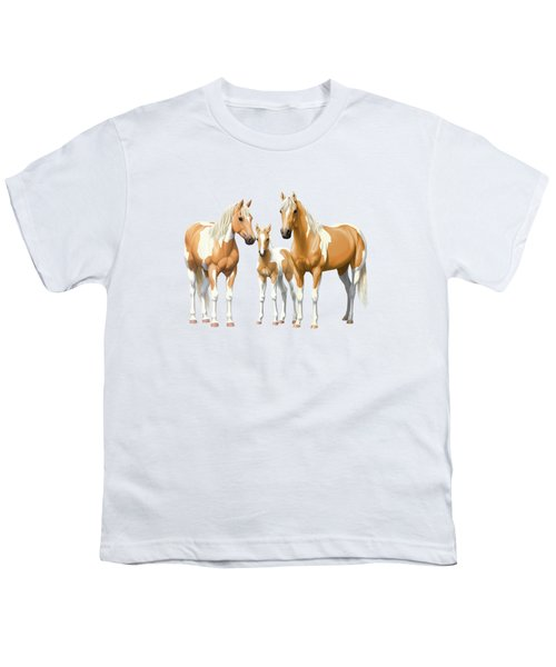 Palomino Paint Horses In Winter Pasture Youth T-Shirt