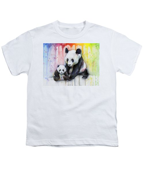 Panda Watercolor Mom And Baby Youth T-Shirt