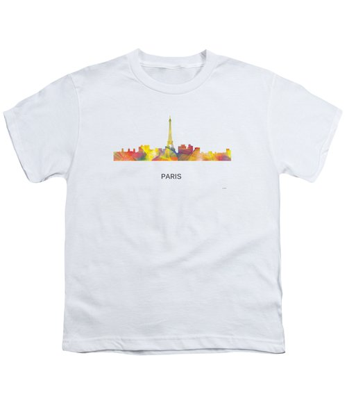 Paris France Skyline Youth T-Shirt by Marlene Watson