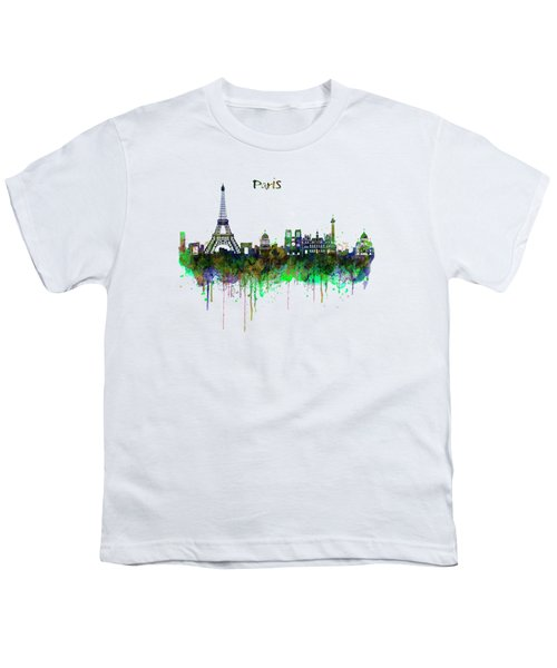 Paris Skyline Watercolor Youth T-Shirt by Marian Voicu