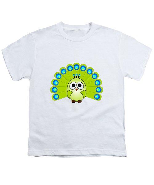 Peacock  - Birds - Art For Kids Youth T-Shirt by Anastasiya Malakhova