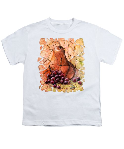 Pear And Grapes Fresco Youth T-Shirt by Lena  Owens OLena Art