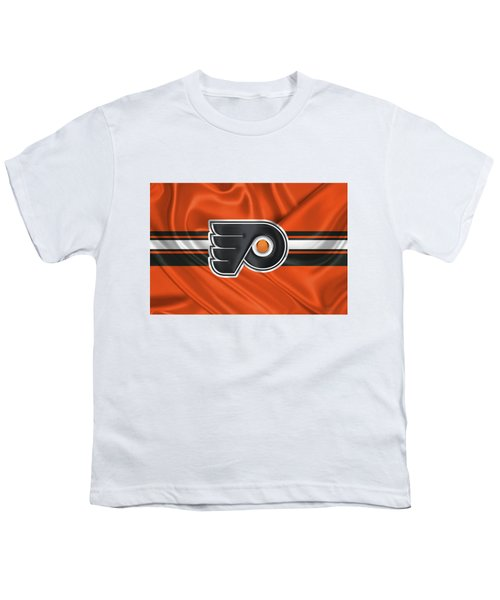 Philadelphia Flyers - 3 D Badge Over Silk Flag Youth T-Shirt by Serge Averbukh