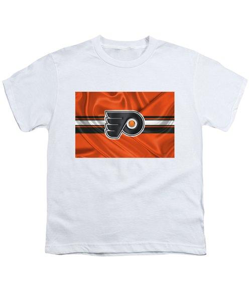 Philadelphia Flyers - 3 D Badge Over Silk Flag Youth T-Shirt