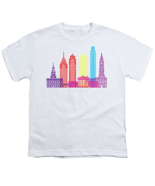 Philadelphia Skyline Pop Youth T-Shirt by Pablo Romero
