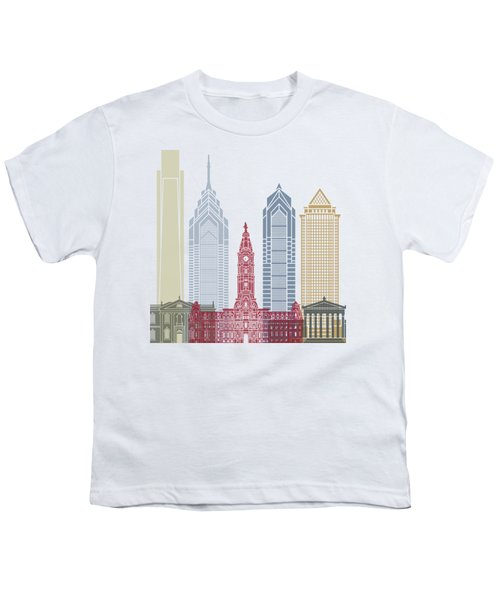 Philadelphia Skyline Poster Youth T-Shirt by Pablo Romero