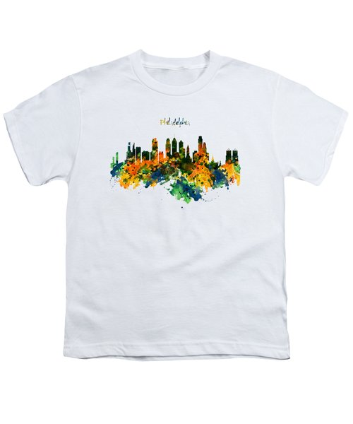 Philadelphia Watercolor Skyline Youth T-Shirt by Marian Voicu