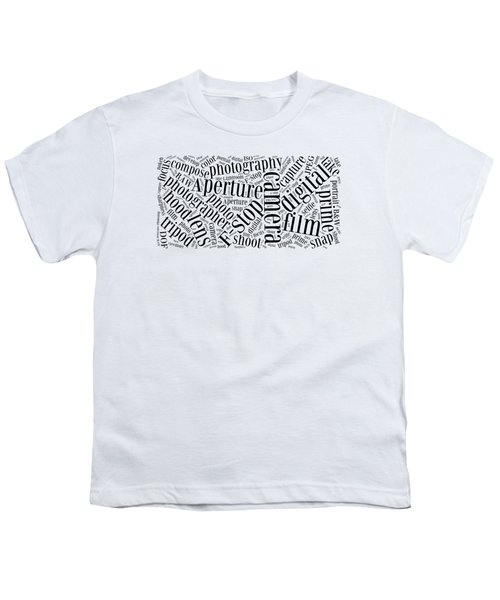 Photography Word Cloud Youth T-Shirt by Edward Fielding