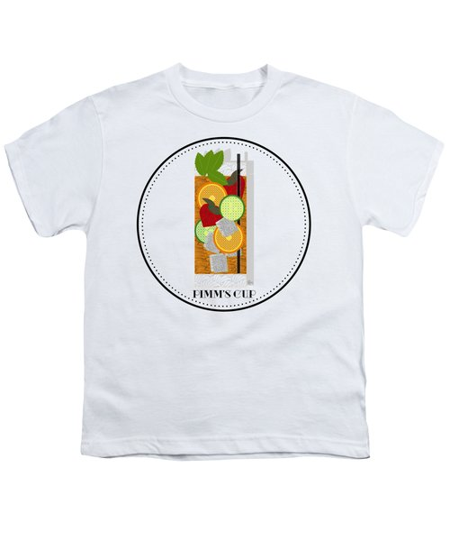 Pimm's Cup Cocktail In Art Deco  Youth T-Shirt by Cecely Bloom