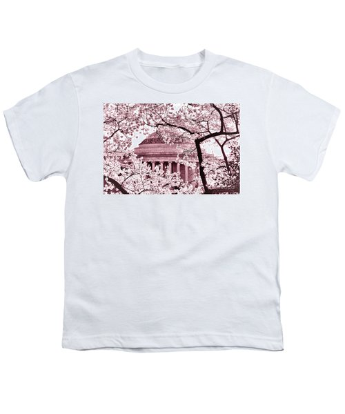 Pink Cherry Trees At The Jefferson Memorial Youth T-Shirt