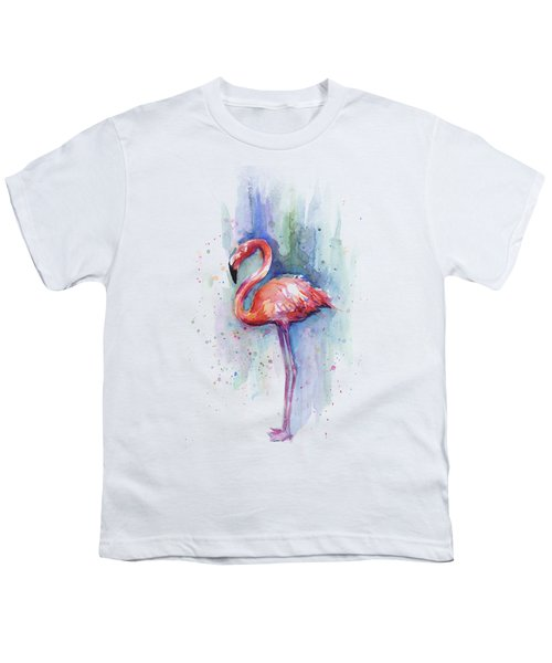 Pink Flamingo Watercolor Youth T-Shirt by Olga Shvartsur