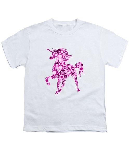 Pink Unicorn - Animal Art Youth T-Shirt by Anastasiya Malakhova