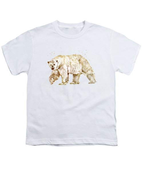 Polar Bear Watercolor Youth T-Shirt by Marian Voicu