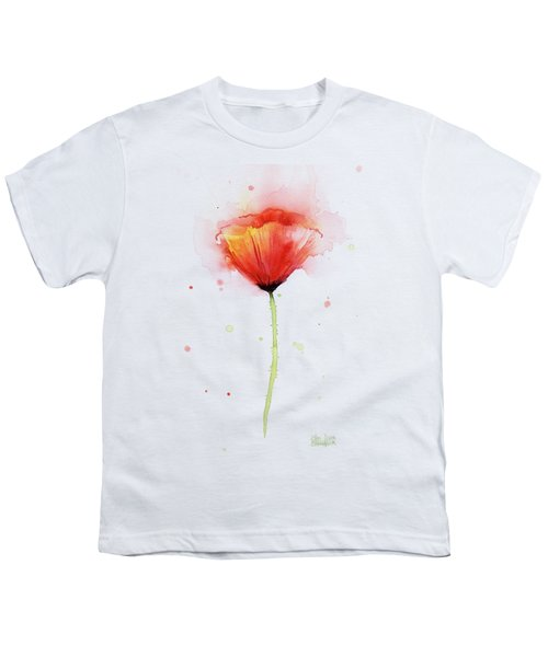 Poppy Watercolor Red Abstract Flower Youth T-Shirt