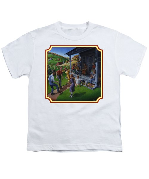 Porch Music And Flatfoot Dancing - Mountain Music - Farm Folk Art Landscape - Square Format Youth T-Shirt