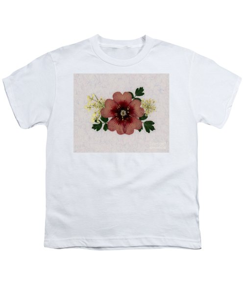 Potentilla And Queen-ann's-lace Pressed Flower Arrangement Youth T-Shirt