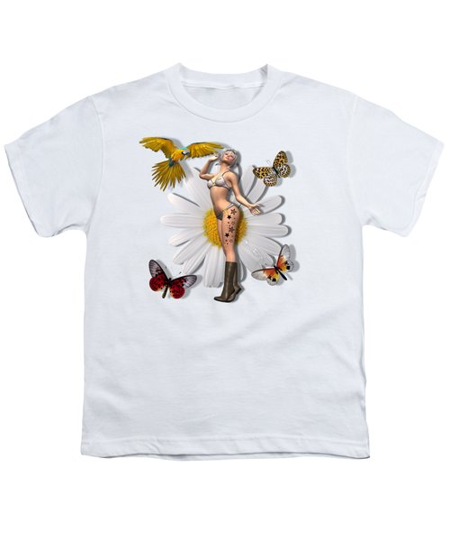 Pretty 3d Woman With Macaw And Butterflies Youth T-Shirt