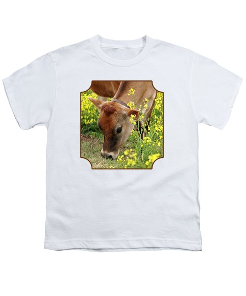 Pretty Jersey Cow Square Youth T-Shirt by Gill Billington