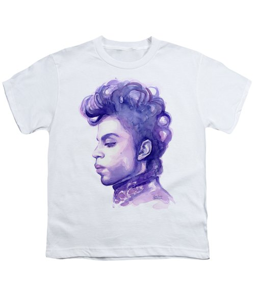 Prince Musician Watercolor Portrait Youth T-Shirt