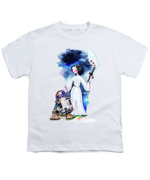 Princess Leia Illustration Youth T-Shirt by Isabel Salvador