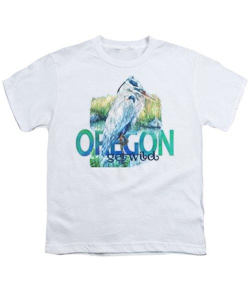 Puddletown Great Blue Heron Youth T-Shirt by Kara Skye
