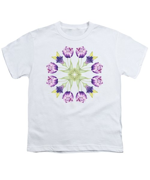 Purple Tulip Mandala Youth T-Shirt