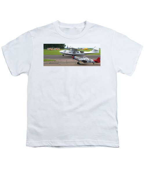 Raf Scampton 2017 - P-51 Mustang With Pby-5a Landing Youth T-Shirt