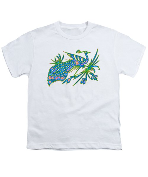 Rainbow Multicolored Peacock On A Branch Youth T-Shirt