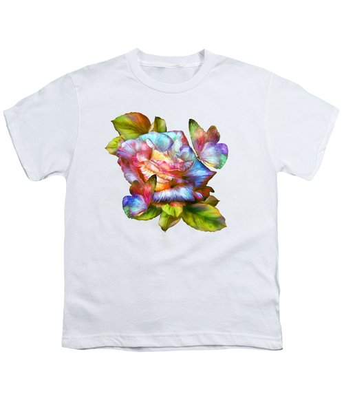 Rainbow Rose And Butterflies Youth T-Shirt by Carol Cavalaris