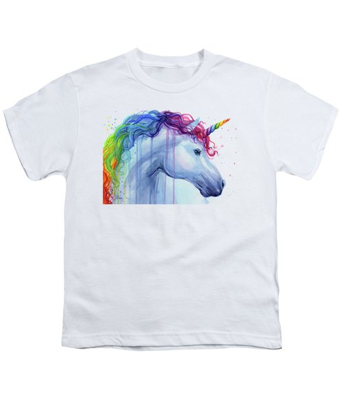 Rainbow Unicorn Watercolor Youth T-Shirt