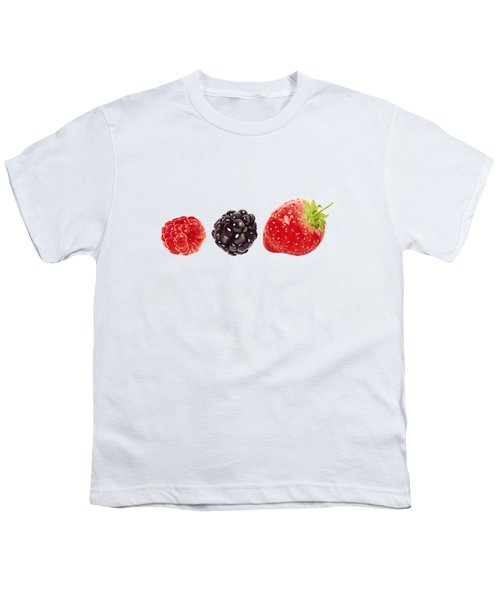 Raspberry, Blackberry And Strawberry In Watercolor Youth T-Shirt by Kathleen Skinner