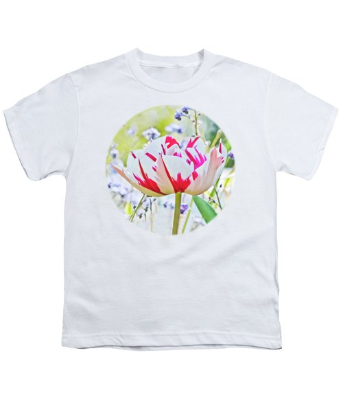 Red And White Tulip Youth T-Shirt by Terri Waters