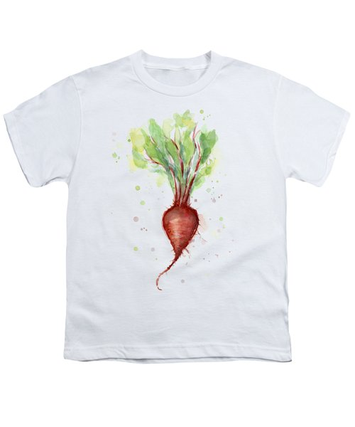 Red Beet Watercolor Youth T-Shirt by Olga Shvartsur