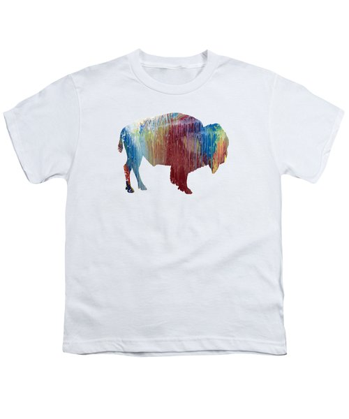 Red Bison Youth T-Shirt by Mordax Furittus