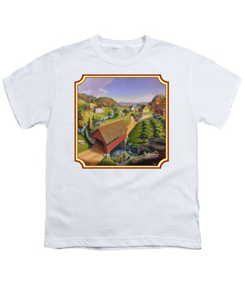Red Covered Bridge Country Farm Landscape - Square Format Youth T-Shirt