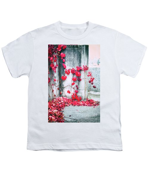 Youth T-Shirt featuring the photograph Red Ivy Leaves by Silvia Ganora
