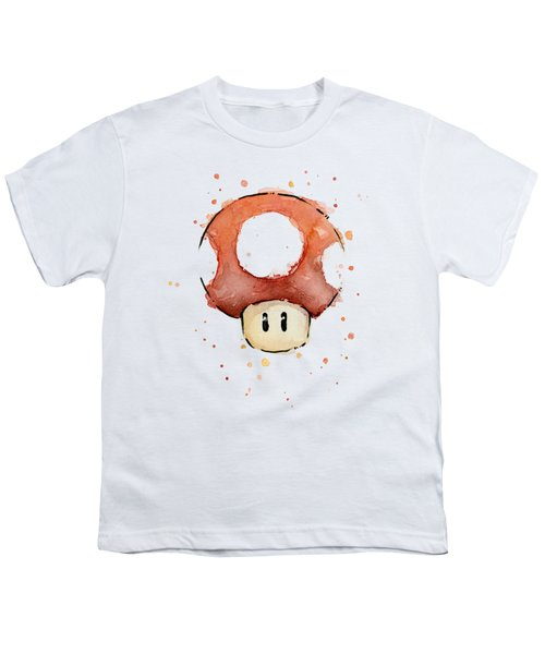 Red Mushroom Watercolor Youth T-Shirt