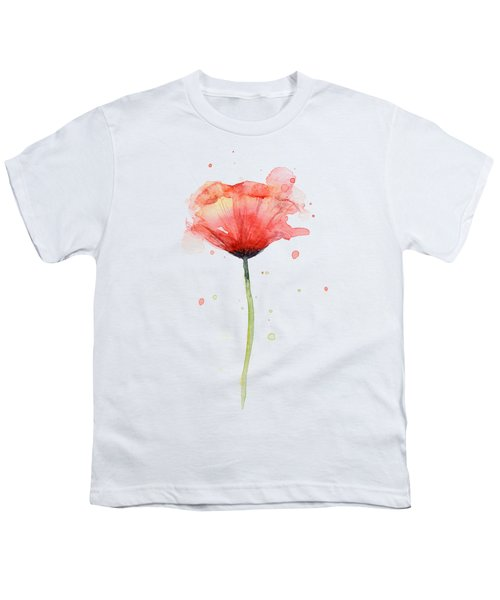 Red Poppy Watercolor Youth T-Shirt