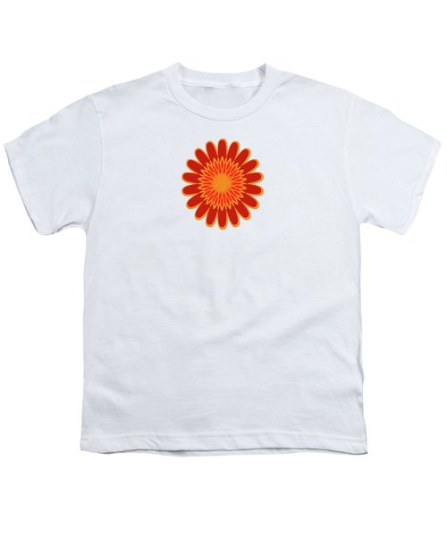 Red Sunflower Pattern Youth T-Shirt by Methune Hively