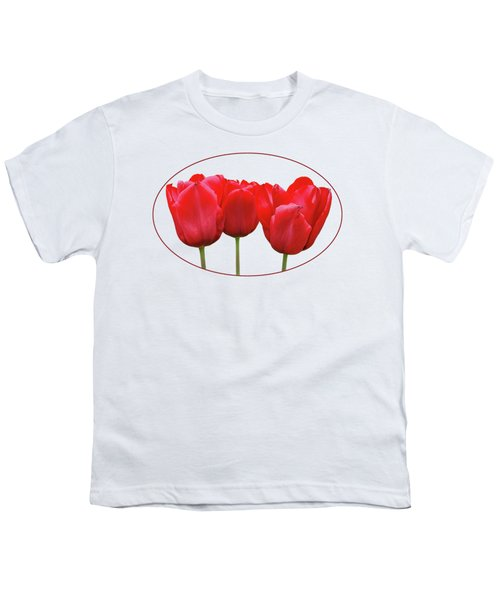 Red Tulip Triple On White Youth T-Shirt