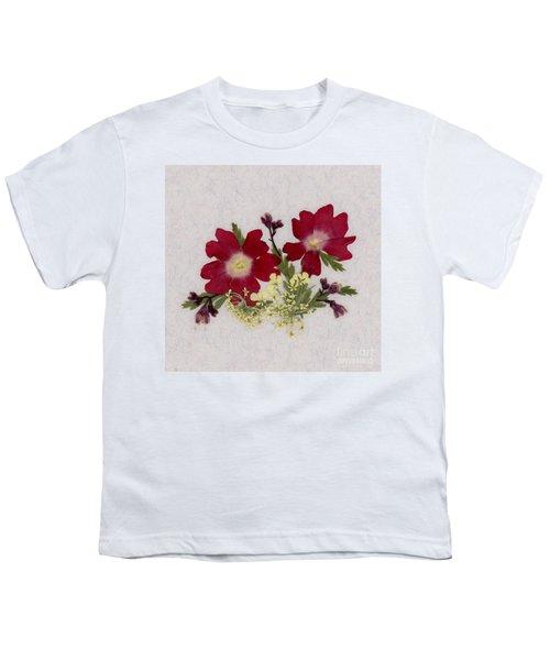 Red Verbena Pressed Flower Arrangement Youth T-Shirt