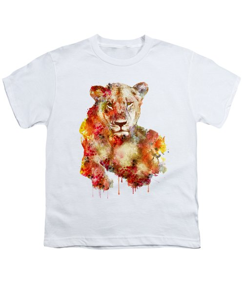 Resting Lioness In Watercolor Youth T-Shirt by Marian Voicu