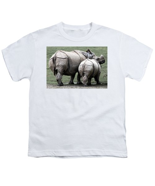 Rhinoceros Mother And Calf In Wild Youth T-Shirt