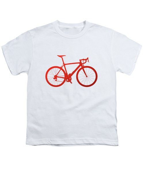 Road Bike Silhouette - Red On White Canvas Youth T-Shirt